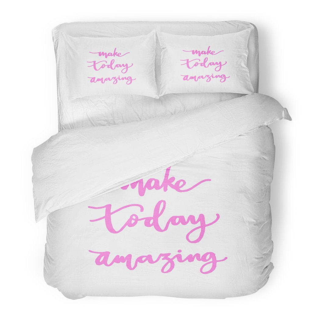 SanChic Duvet Cover Set Daily Make Today Amazing Hand Lettered Quote Modern Calligraphy Christian Believe Decorative Bedding Set 2 Pillow Shams King Size