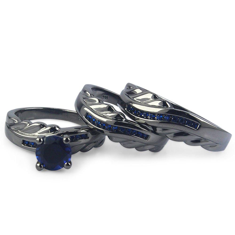 TVS-JEWELS Engagement Ring Wedding Band Trio Set W/ Round Blue Sapphire Stone Black Rhodium Plated