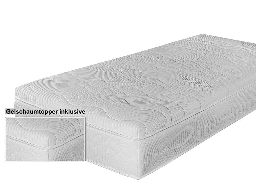 lifestyle4living 7 Liegezonen Taschenfederkernmatratze/Continental Matratze mit Gelschaumtopper in der Größe von 90 x 200 cm, in Härtegrad 2