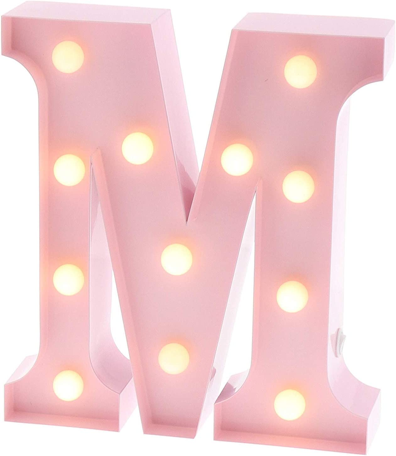 Baby Pink KJKJ Eletina Tin Signs Metal Marquee Letter M Light Up Wall Initial Nursery Letter Home and Event Decoration 9