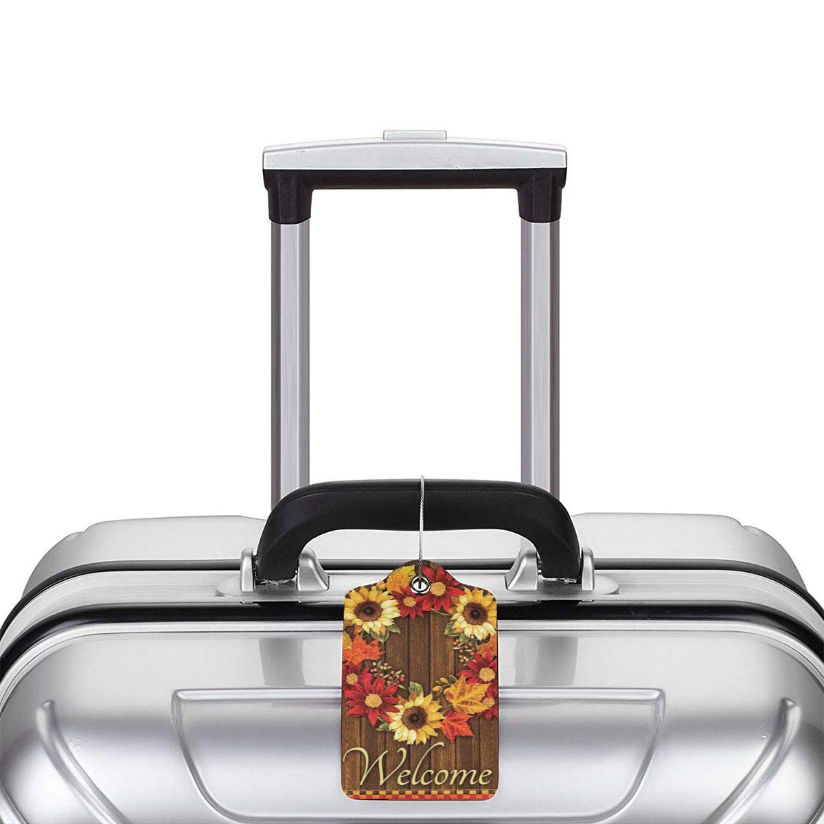 Welcome Wreath Sunflower Maple Leaves Cabin Leather Luggage Tags Personalized Flexible Custom Travel Tags With Privacy Flap