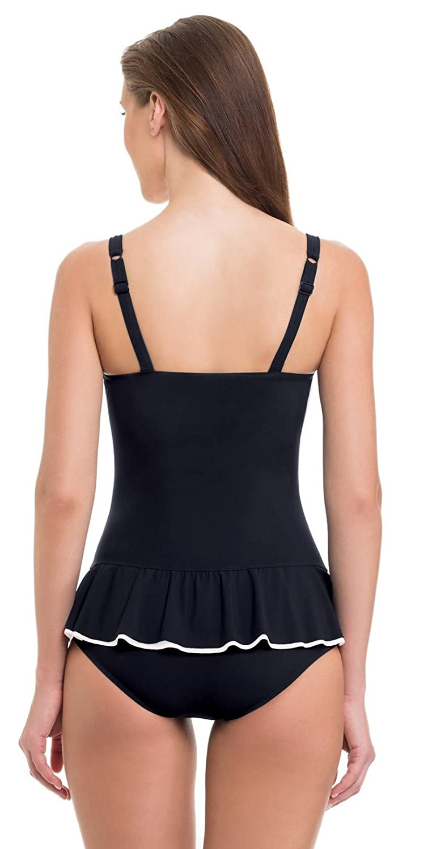 b64cffa9093 Profile by Gottex Belle Curve Black Peplum Bandeau D-Cup One Piece  E834-2D18-002 Black/12 at Amazon Women's Clothing store: