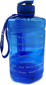 D.Y.A 1 Gallon (128-OZ) Water Bottle Sports Water Bottle with Motivational Maker Reminder BPA Free and Leak Proof Sports Gallon Jug Water Bottle(Blue)