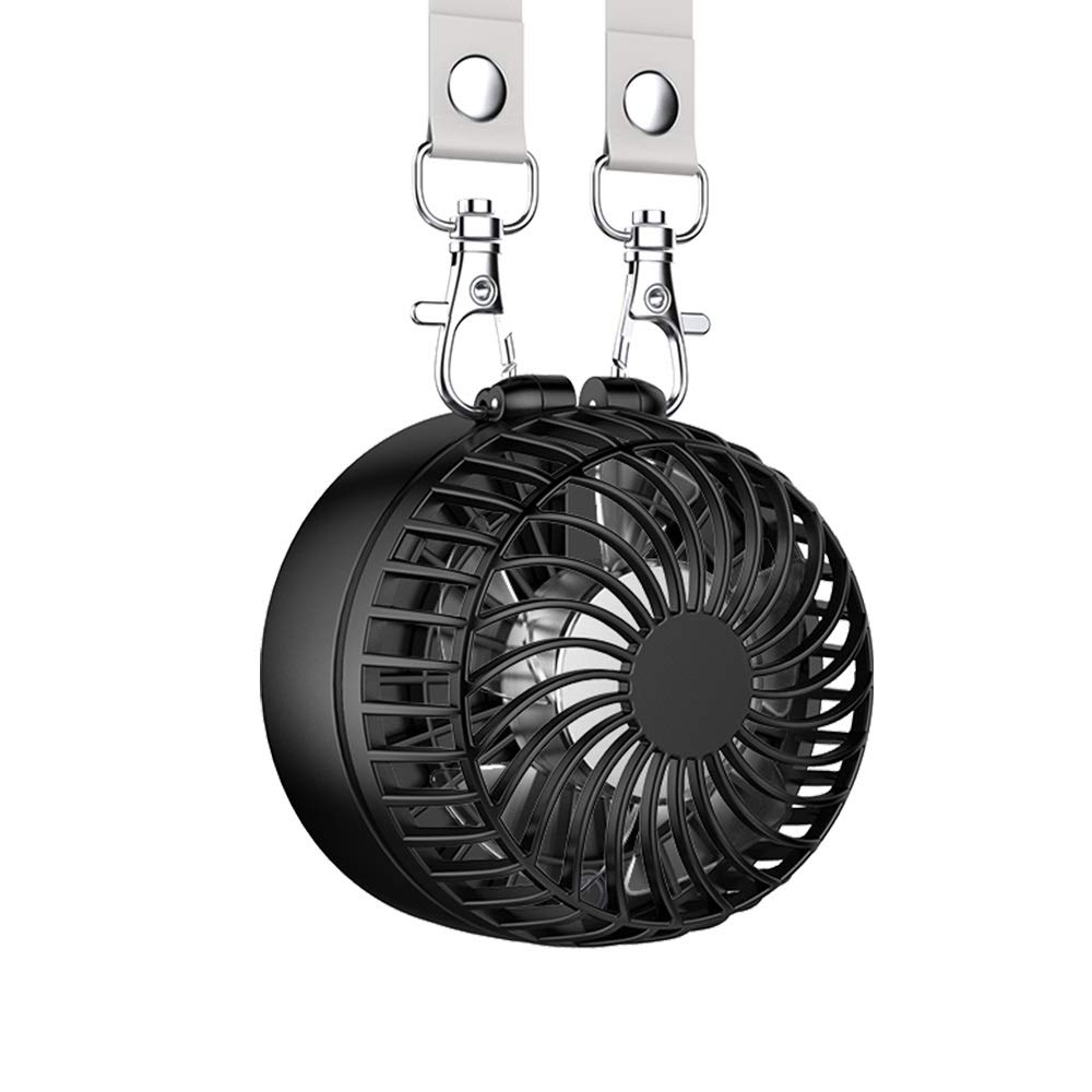 EasyAcc 携帯扇風機 首掛け扇風機 2600mAh 折り畳み式 携帯ファン 超静音 超強力 手のひらサイズ mini小型 ストラップ付き3段階調節 暑さ対策 usb扇風機 BBQ アウトドア 17時間連続使用 2年保証 ブラック