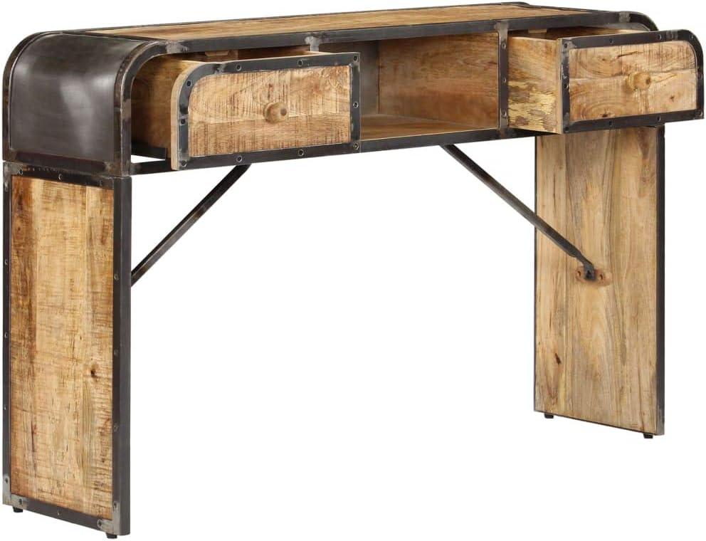 recibidor industrial de metal y madera