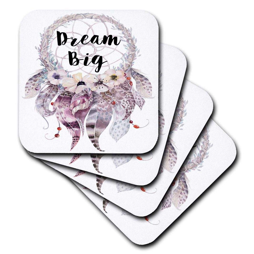 3D Rose Big in A Watercolor Feathered Dream Catcher Soft Coasters Multicolor