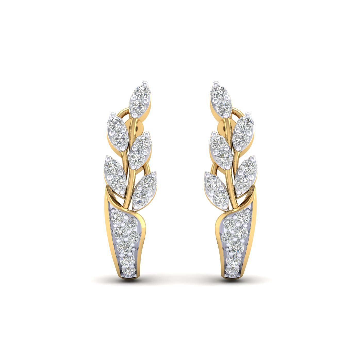 Cubic Zirconia Leaf Design Cluster Stud Earrings Summer Sale 14K Yellow Gold Plated Round Cut AAA