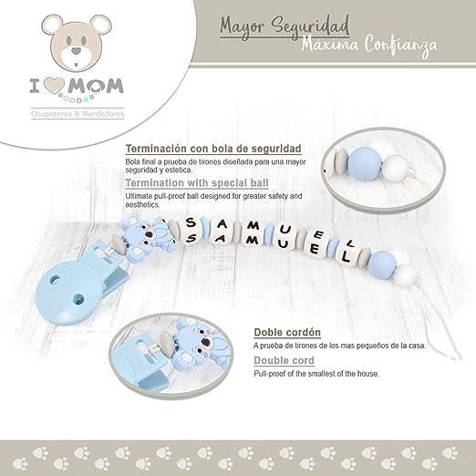 Azul Pastel Chupetero Personalizado con Pinza de Pl/ástico Silicona Antibacteriana y Cinta RUBY