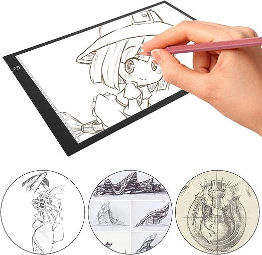 Mesa de Luz Dibujo A3, LED Tableta de Luz de Iluminación de la Caja de Alimentación Micro USB Ideal para Animacion Tatoo Dibuja: Amazon.es: Hogar