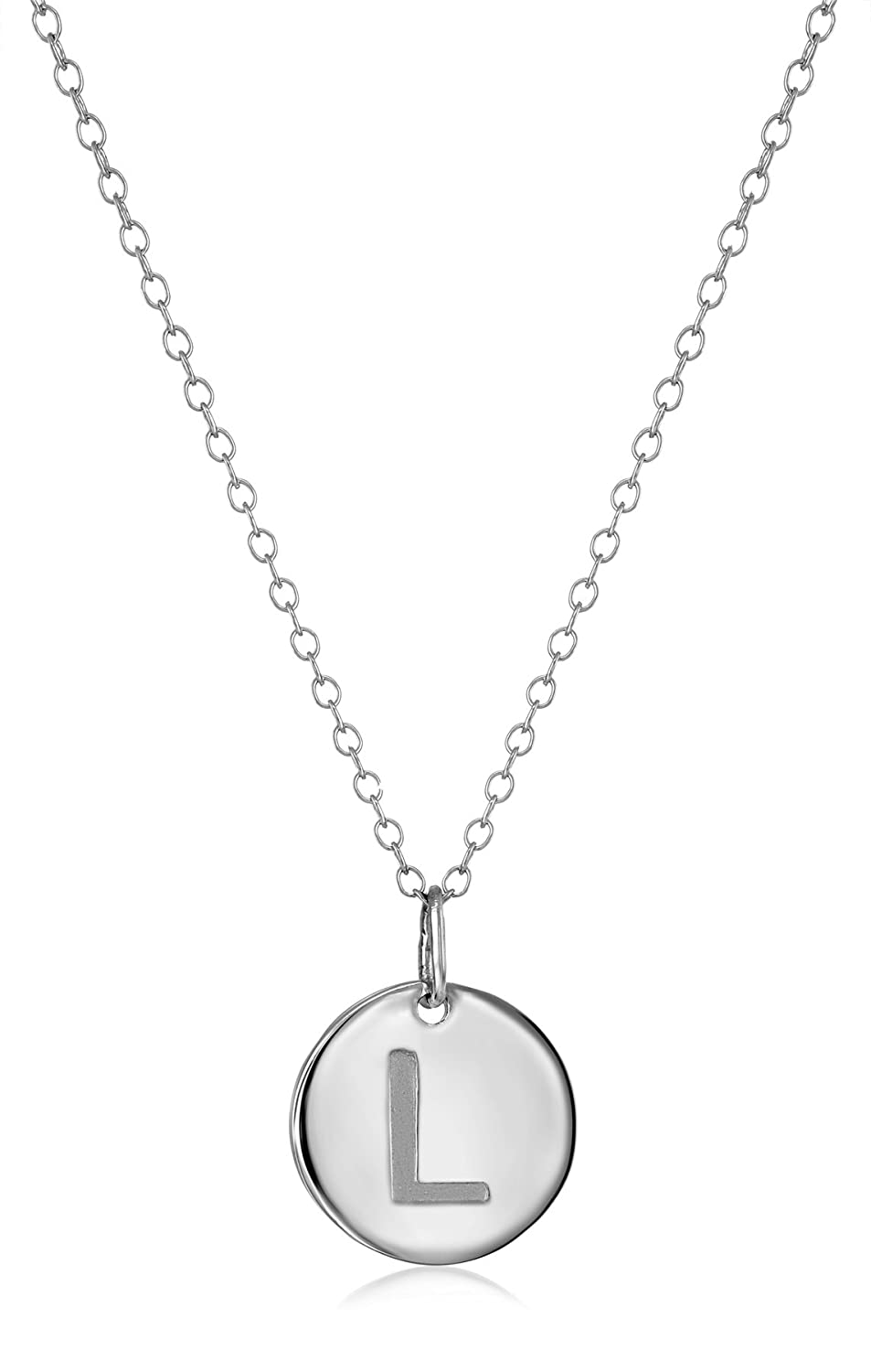 18.64 Sterling Silver Round Disc Initial Pendant Necklace