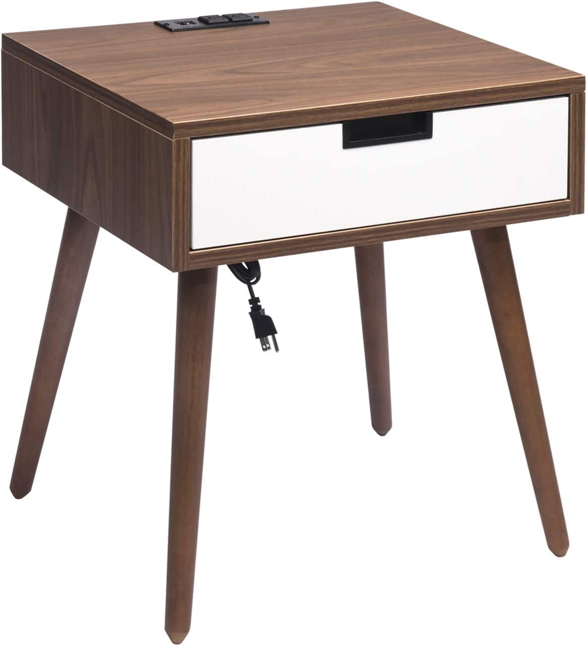 Amazon Com Nightstand End Table With Drawers Storage Frylr Bedside Table Latest With 2 Power Sockets And 2 1a Usb Charging Ports Design For Living Room Sofa Light Walnut And White Kitchen Dining,What Paint For Bathroom Cabinets