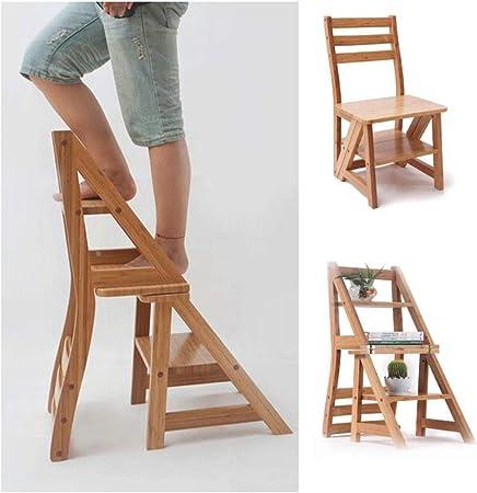 ABARB 4 Step Ladder Chair – Silla portátil plegable con respaldo, suelo de tejado, escalera de madera, escalera para casa, también un taburete, escalera de escalada, estante para flores: Amazon.es: Hogar