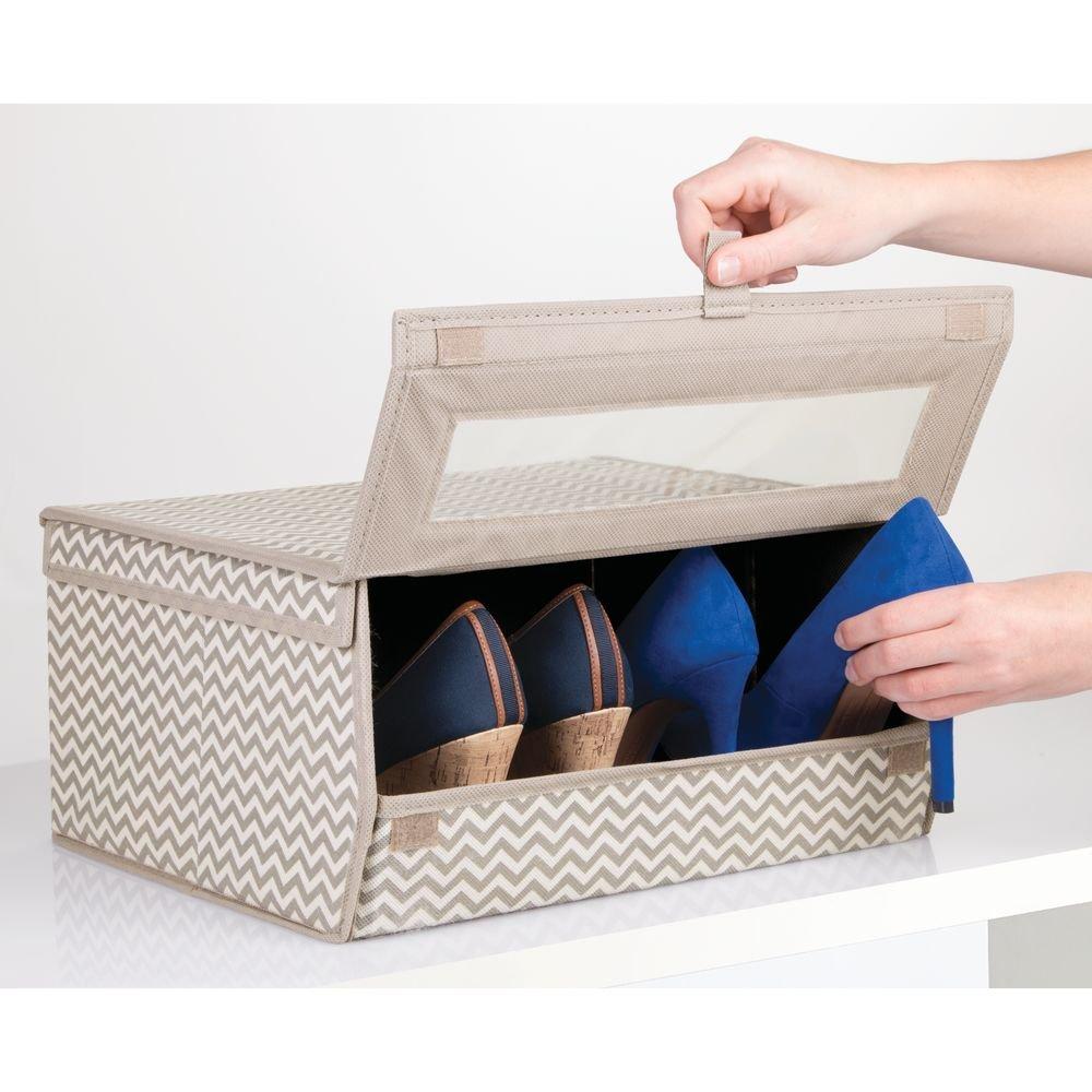 gro/ß mDesign Schuhaufbewahrung aus Stoff praktische Aufbewahrungsbox mit Zickzack-Muster f/ür Schrank oder Regal taupe stapelbare Schuhbox mit Sichtfenster Klettverschluss und Klappdeckel