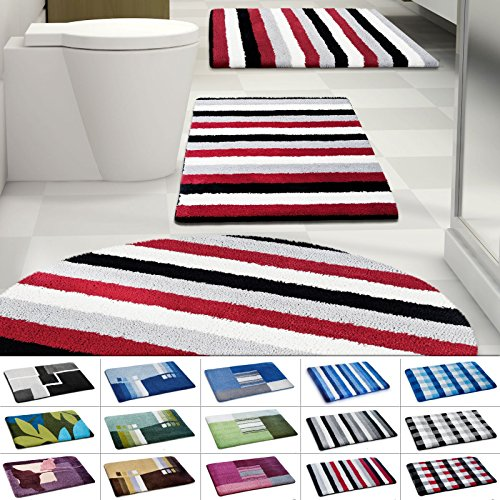 casa pura Design Bathroom Rug | Non-Slip Bath Mat for Floors | Black, Gray & Red Stripes | Multiple Sizes Available | 28