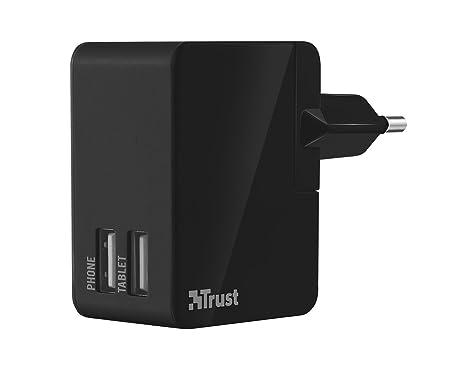 Trust 19935 - Cargador para tablet con 2 puertos USB (pared, 110 o 230 V, 12 W), negro