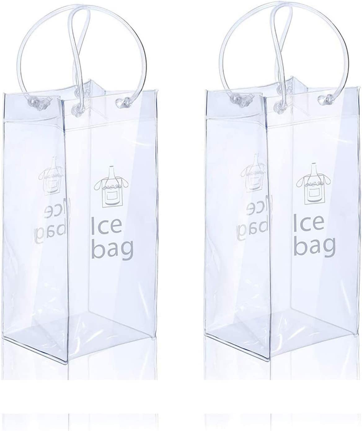 2 Pack Ice Wine Bag Portable Collapsible Clear Wine Pouch Cooler with Handle for Party,Outdoor,Champagne,Cold Beer,White Wine,Chilled Beverages,Iced Drinks