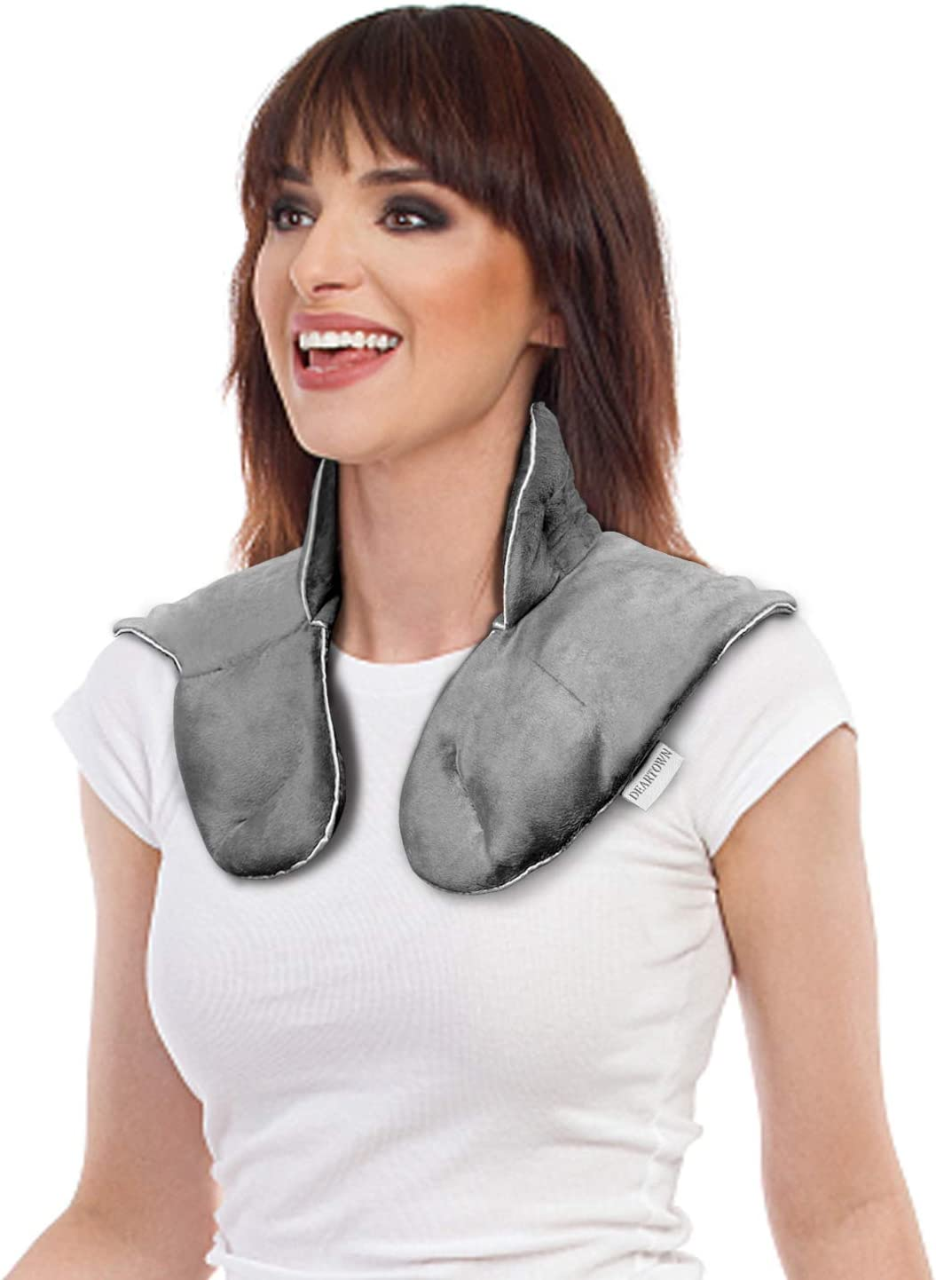 DEARTOWN Weighted Neck Shouder Wrap for Targeting Stress, Tension and Headache Relief (3.5LB, Navy) (3.5LB, Grey)