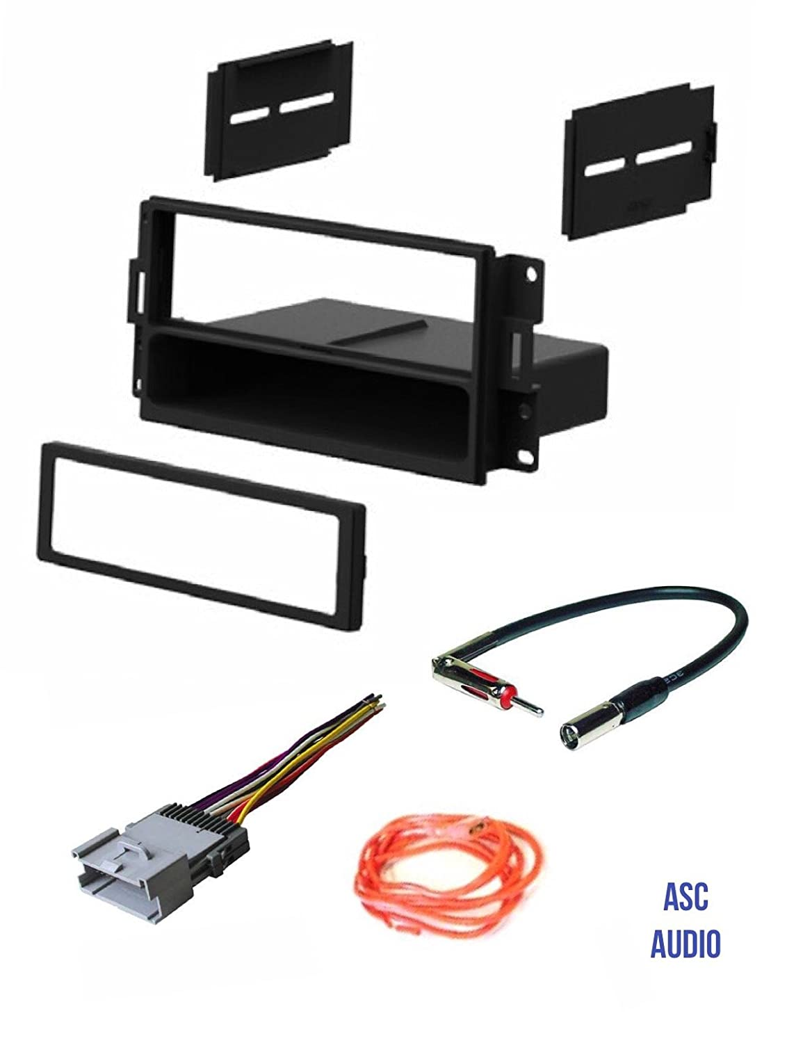 ASC Audio Car Stereo Radio Dash Install Kit, Wire Harness, and Antenna Adapter to Install a Single Din Radio for 2004 2005 2006 2007 2008 Pontiac Grand Prix w/ No Factory Premium Amp