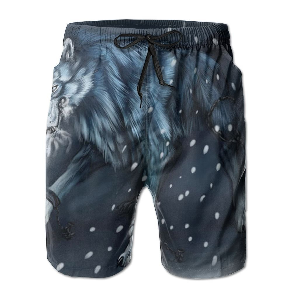 DTMN7 Anime Wolf Snow Mens Beach Shorts Casual Classic Printing Quick Dry Swim Trunks With Pockets