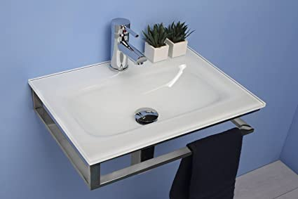 Muebles de baño lavabo de vidrio de 51 cm con soporte de ...