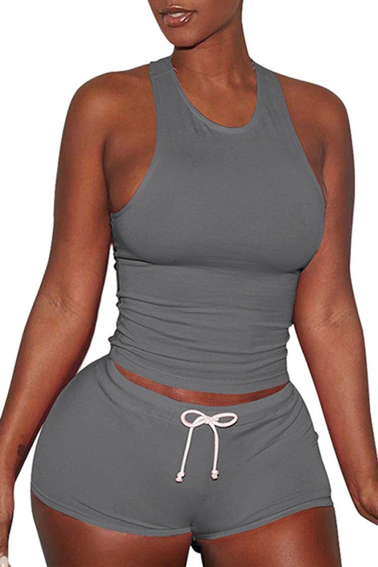 VamJump Women Shorts Sets Sleeveless Split Casual Outfit Sportswears 2 Piece Grey XXL by VamJump