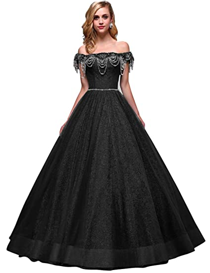 d4aff2fa82 Womens Long Lace Wedding Dresses 2018 Off Shoulder Beading Formal Gowns Size  2 Black