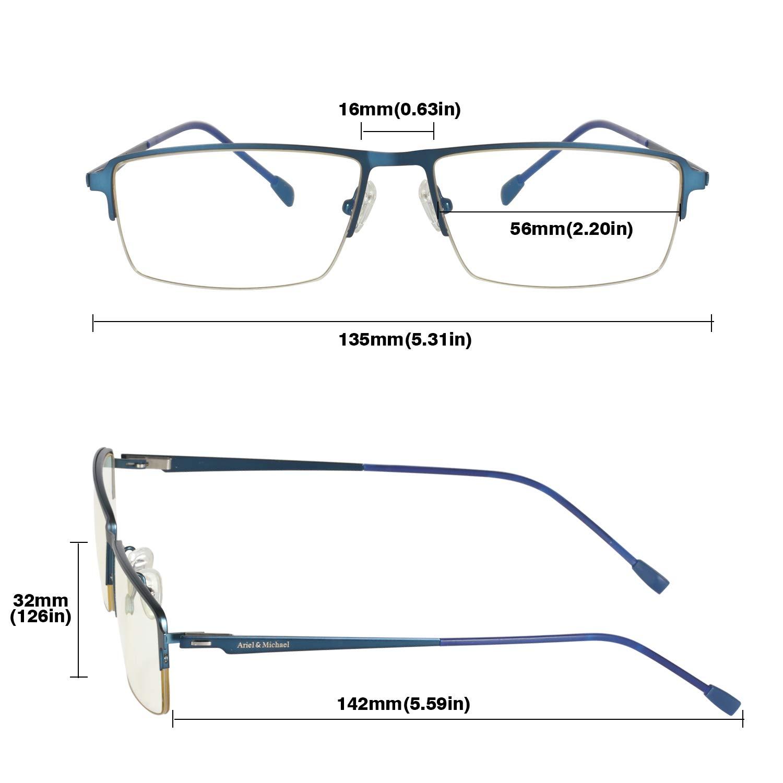 A/&M Occhiali Luce Blu Bloccanti Occhiali Computer Filtro Luce Blu Ceppo Anti-Occhio /— Telaio Ultraleggero in Lega di Titanio /& Lente in Nylon HD Protezione Radiazioni /& UV 400