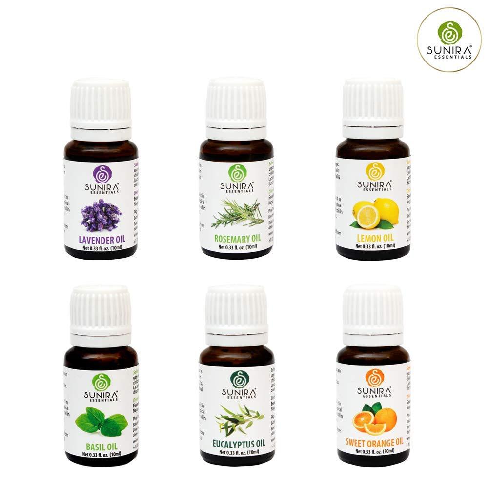 SUNIRA Essential Oil Gift Set of 06, Therapeutic Grade, 100% Pure Essential Oils (Lavender, Rosemary, Basil, Lemon, Eucalyptus & Orange) by SUNIRA (Image #2)