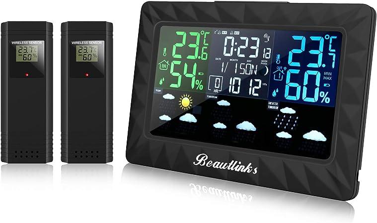 Wetterstation Farbdisplay Außensensor Thermometer Wettervorhersage
