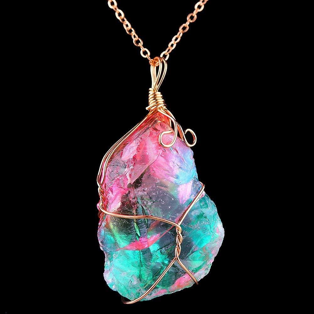 Natural 1pcs 2020 cristal natural de la joyería caliente de regalo cuarzo irregular colorido del arco iris de piedra de oro chapado Chakra de la roca pendiente de las mujeres de moda accesorio de la j