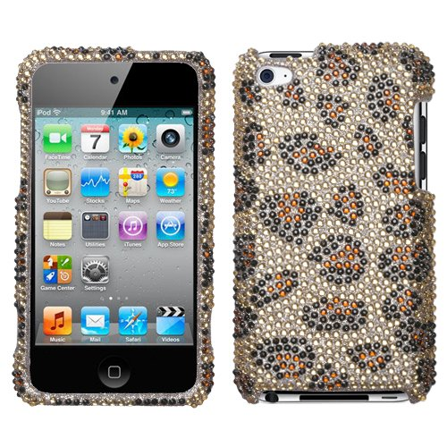 Leopard Skin/Camel Diamante Protector Cover for Apple iPod touch (4th - Skin Mybat Leopard