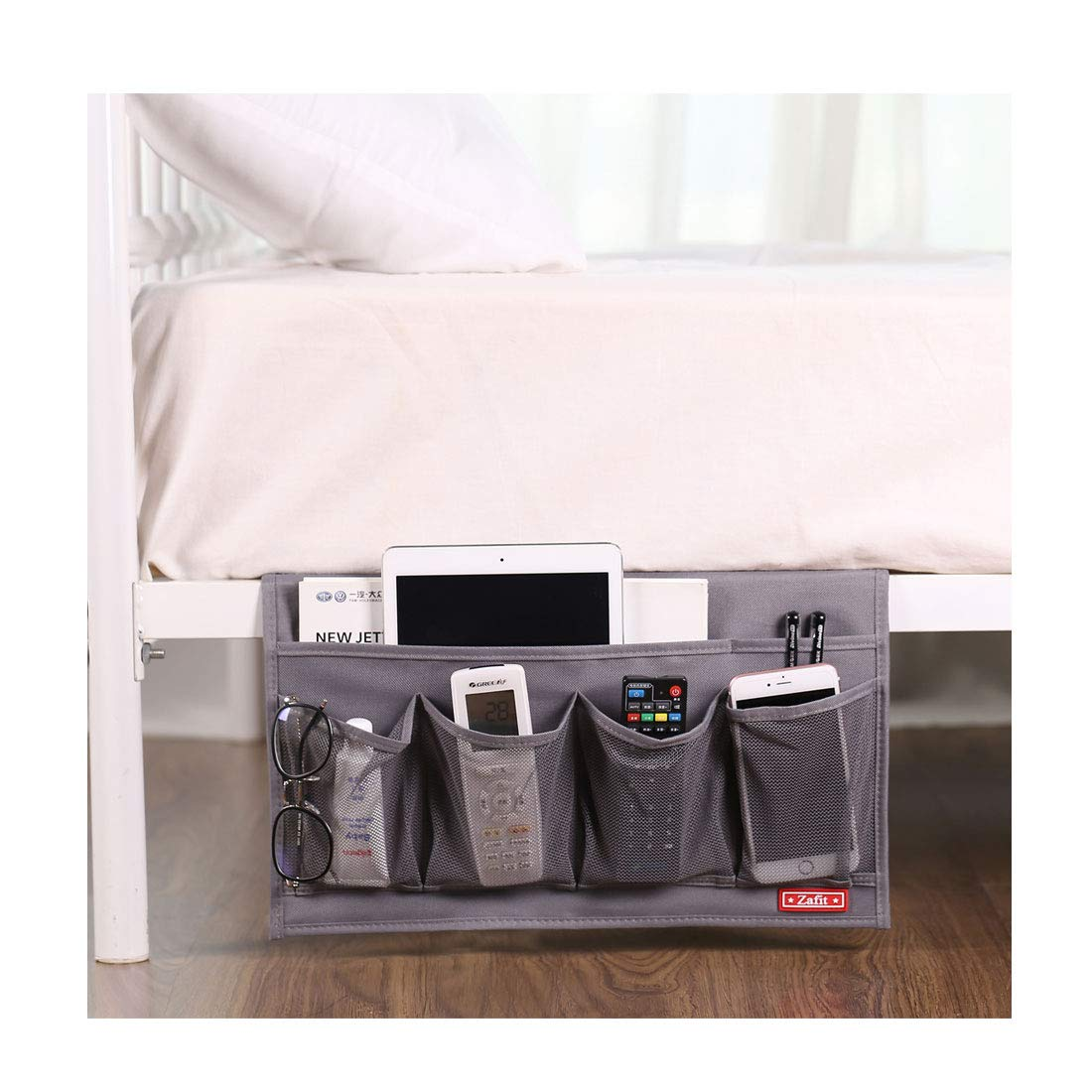 Zafit 6 Pockets Bedside Storage Organizer, Table cabinet Storage Organizer Bedside Organizer Caddy for Remotes Phone Glasses (Grey) by Zafit