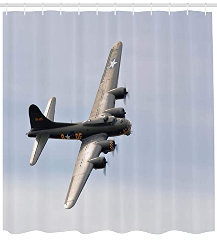 Lunarable Airplane Shower Curtain Memphis Belle Boeing B17 Flying Over Shoreham Retro Airfield Technology Image