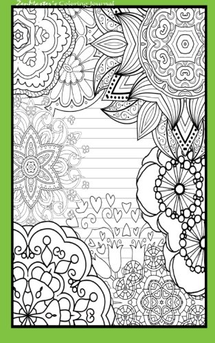 Coloring Journal (green): Therapeutic journal for writing, journaling, and note-taking with coloring designs for inner peace, calm, and focus (100 ... and stress-relief while writing.) (Volume 15)