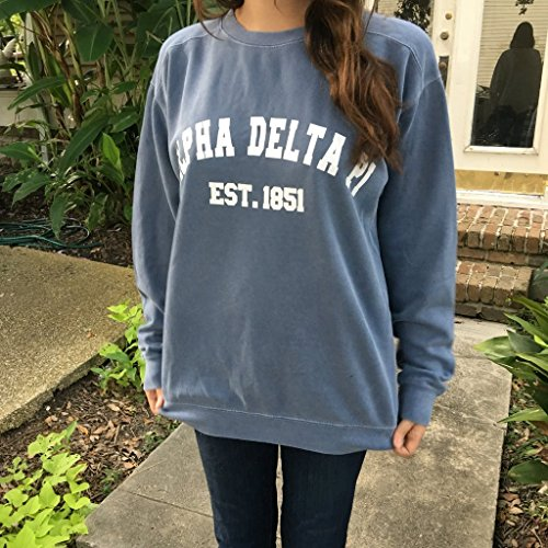 Sorority Comfort Colors Crewneck Sweatshirt with Varsity Design by Campus Connection