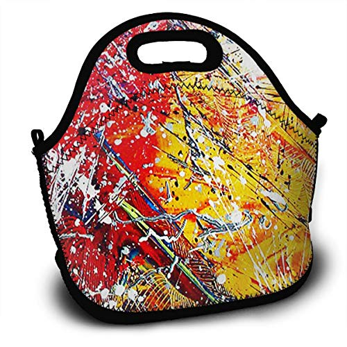 (NBXIXI Dream Abstract Colorful Pigment Splash?Cool Lunch Bags with Shoulder Strap Multi-Purpose Bento Boxes Insulated and Reusable Tote Bag for Youth)