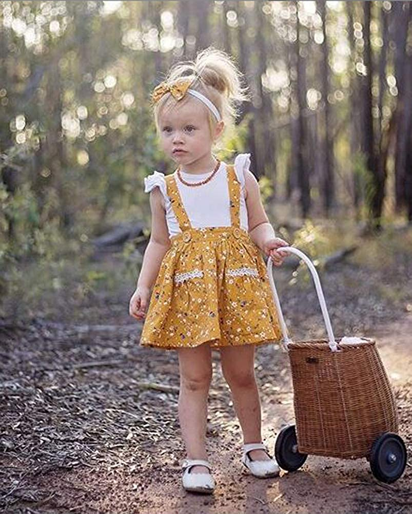 Infant Baby Girl Short Ruffle Sleeve Solid Color T-Shirt Top Floral Suspender Skirt Overalls Clothes Set