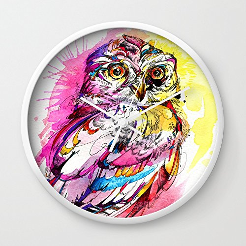 Society6 Neon Northern Pygmy Owl Wall Clock White Frame  White Hands