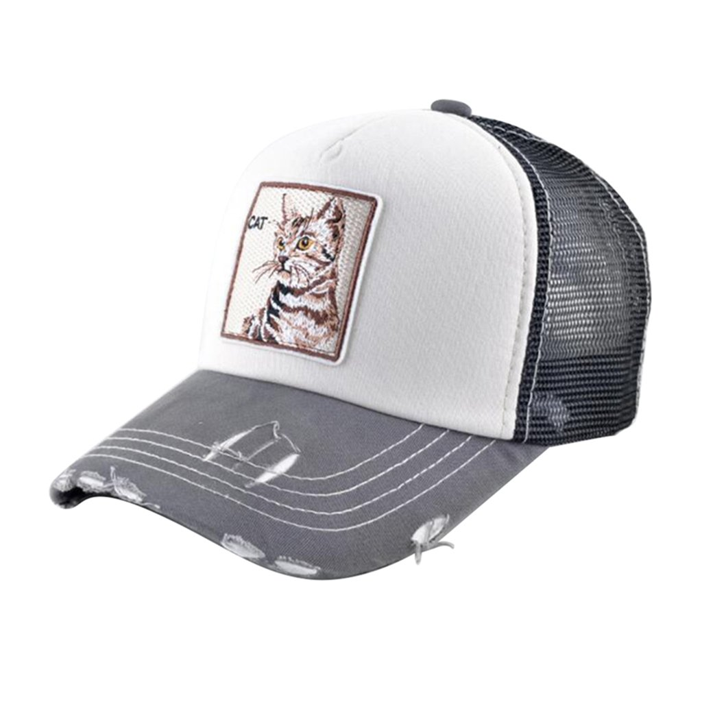 52f7e44460a Unisex Trucker Hat Animal Embroidery Patch Baseball Caps Hip-hop Mesh Hats  (White-Cat