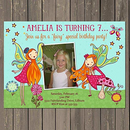 Fairy Invitation, Fairy Birthday Party Invitation, Fairy Garden Party, Woodland Fairy Invite, Photo Invitation, Custom]()