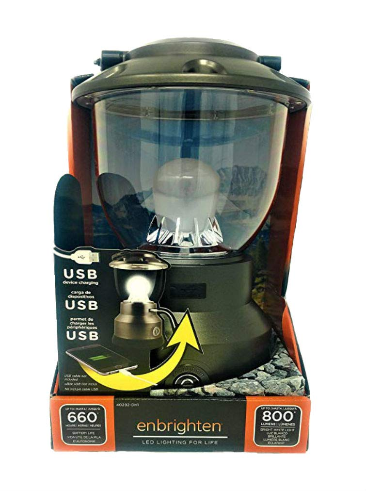 Enbrighten Lantern USB Charger 600 hrs Battery Life 800 Lumens Camping or Emergency Light by Enbrighten