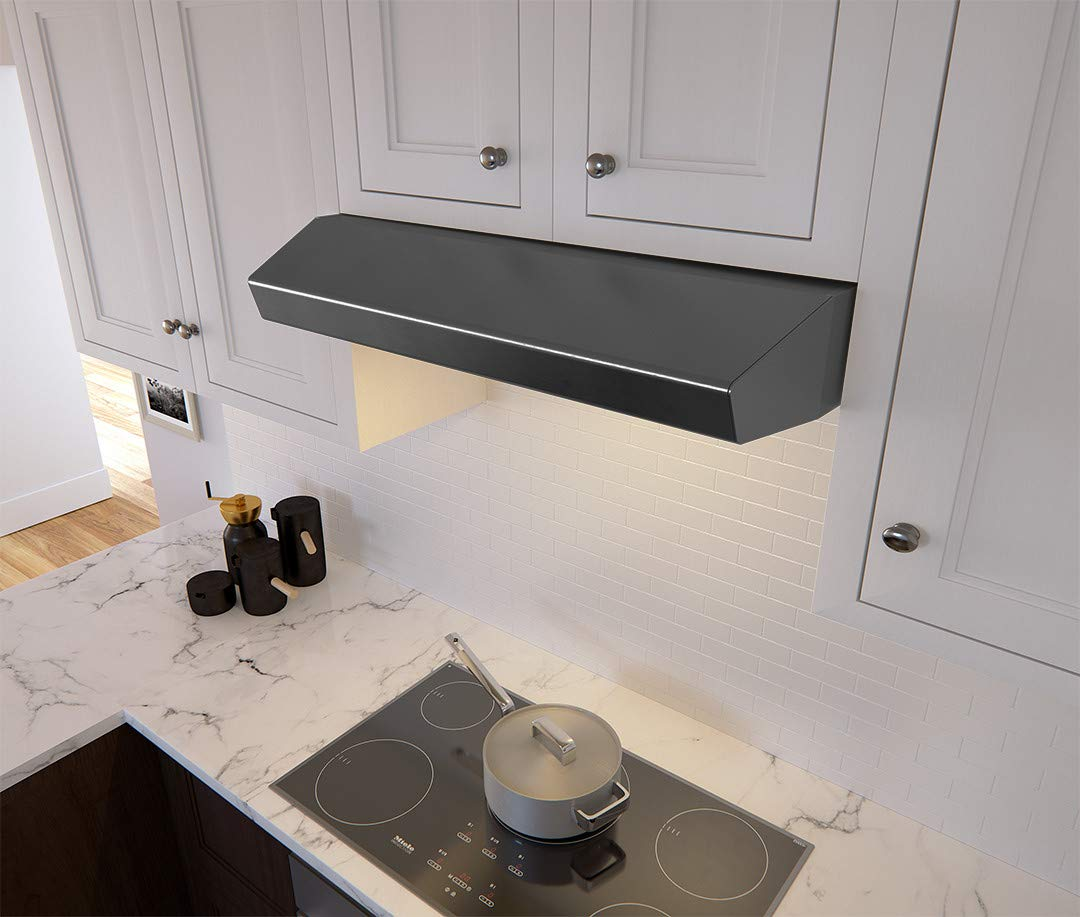 Zephyr AK1236B 400 CFM 36 Inch Wide Under Cabinet Range Hood from the Breeze II, Black Stainless Steel