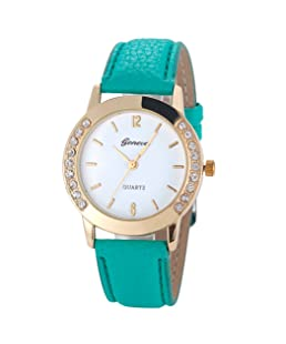 Womens Quartz Watch,Geneva Unique Analog Fashion Lady Watches Female Watches Casual Wrist Watches for Women,Round Dial Case Comfortable PU Leather Watch-H09 (Green)