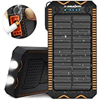 Solar Charger, X-DRAGON 15000mAh with Cigarette Lighter, Solar Power Bank 2A Input Dual Super Bright LED Light Water-Resistant Dustproof Shockproof Dual USB for iPhone, Samsung Galaxy and More-Orange