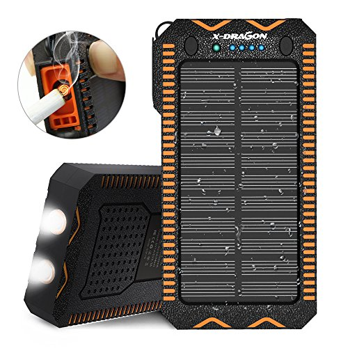 Price comparison product image Solar Charger, X-DRAGON 15000mAh with Cigarette Lighter, Solar Power Bank 2A Input Dual Super Bright LED Light Water-Resistant Dustproof Shockproof Dual USB for iPhone, Samsung Galaxy and More-Orange
