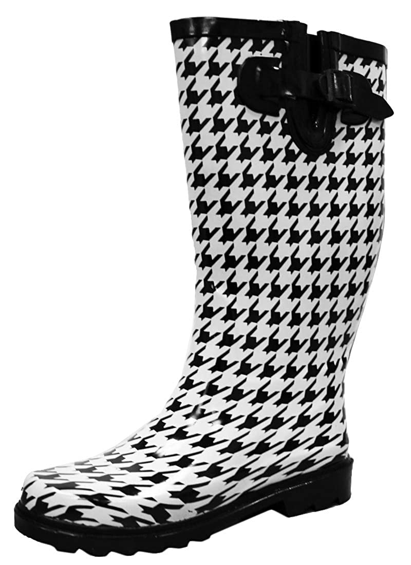 Black White Houndstooth Cambridge Select Women's Waterproof Pattern Print Knee High Welly Rain Boot