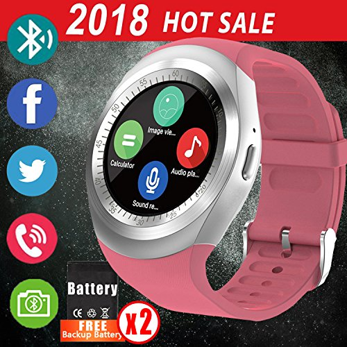 2018 Newest Bluetooth Smart Watch Women, Synmila Touch Screen Smart Wrist Watch Cell Phone with SIM Card for Men with Pedometer Waterproof Fitness Tracker Wearable Phone Watch for Android IOS (Pink)