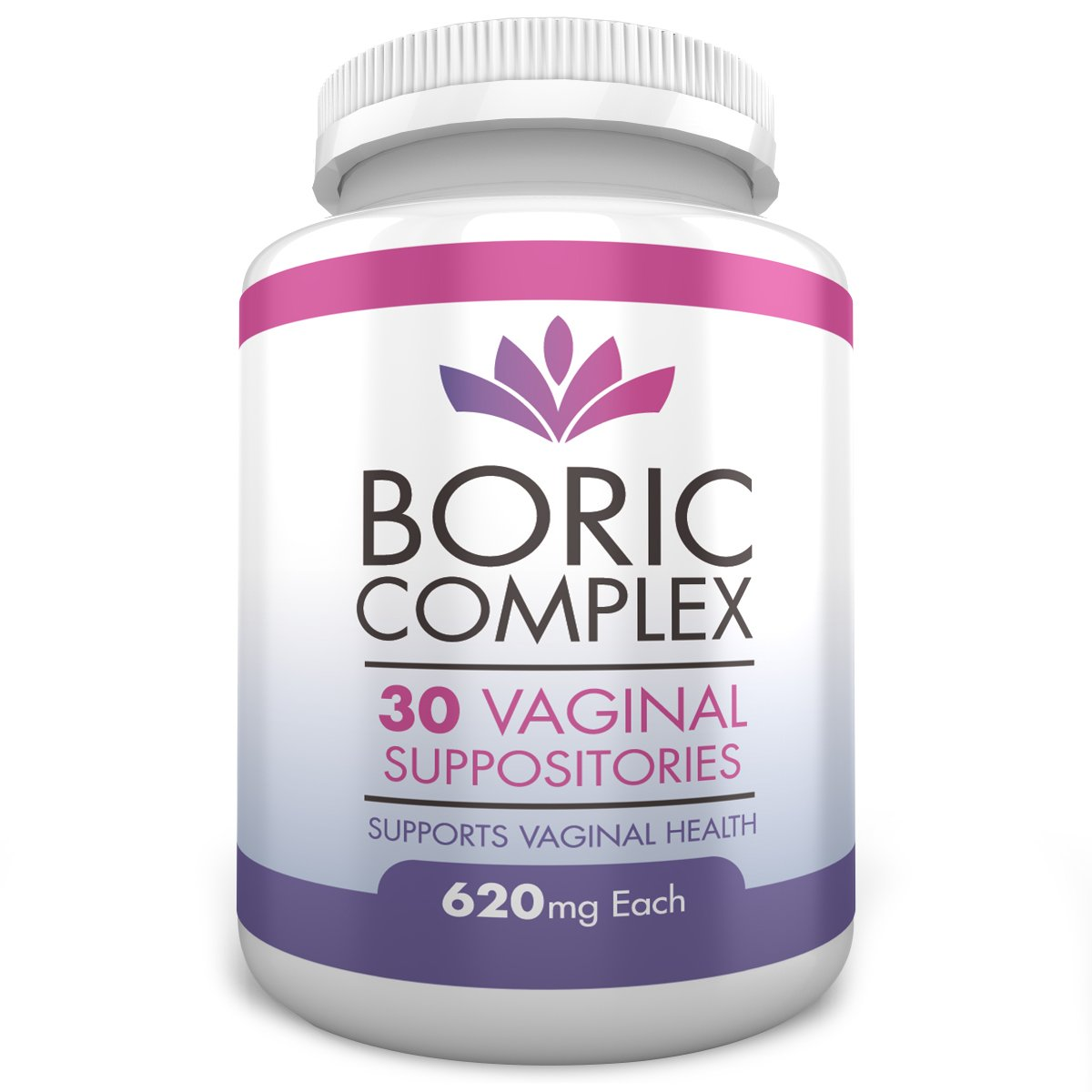 Boric Acid Vaginal Suppositories 620mg Formula - Natural With Soothing Marigold Flower Extract, 30 Count