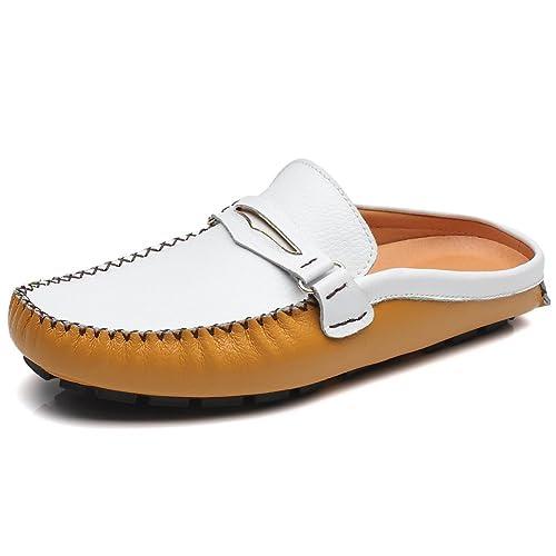 Jamron Hombres Cuero Dividido Mocasines Tacón Plano Mulas Casa Cuero Las Zapatillas sin talón Zapatillas: Amazon.es: Zapatos y complementos