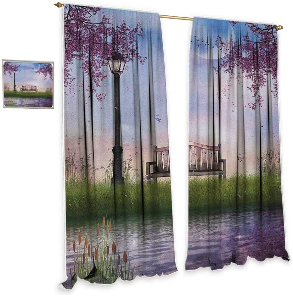 "cobeDecor Nature Sliding Curtains Bench on Flowing River with Crescent Moon Lavender Trees and Grass Illustration Home Garden Bedroom Outdoor Indoor Wall Decorations 55"" Wx63 L Multicolor"